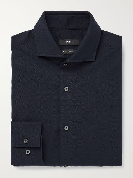 HUGO BOSS Slim-Fit Textured-Cotton Jersey Shirt