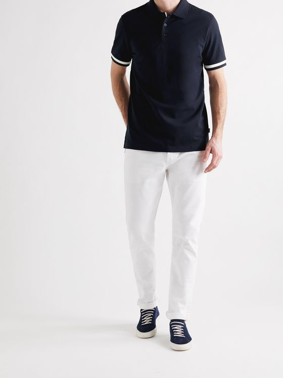 HUGO BOSS Contrast-Tipped Mercerised Stretch-Cotton Piqué Polo Shirt