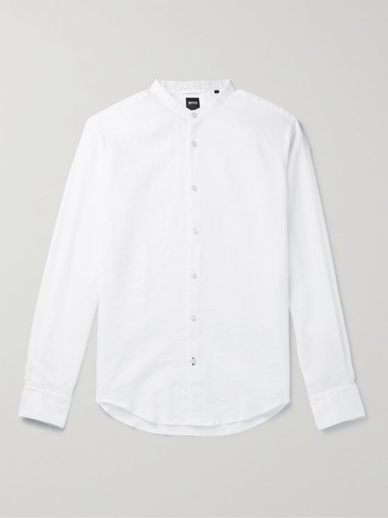 HUGO BOSS Slim-Fit Grandad-Collar Linen-Blend Shirt