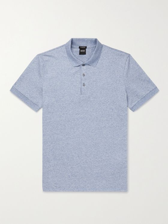 HUGO BOSS Mélange Cotton and Linen-Blend Polo Shirt