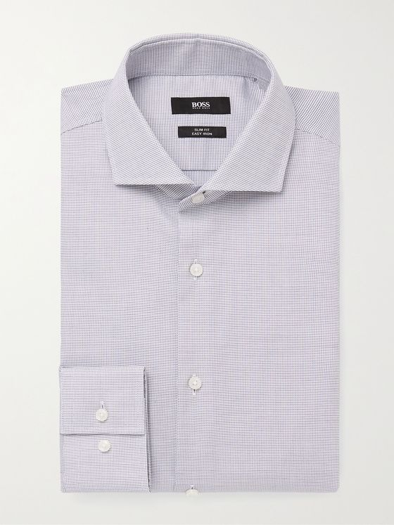 HUGO BOSS Cutaway-Collar Cotton-Jacquard Shirt