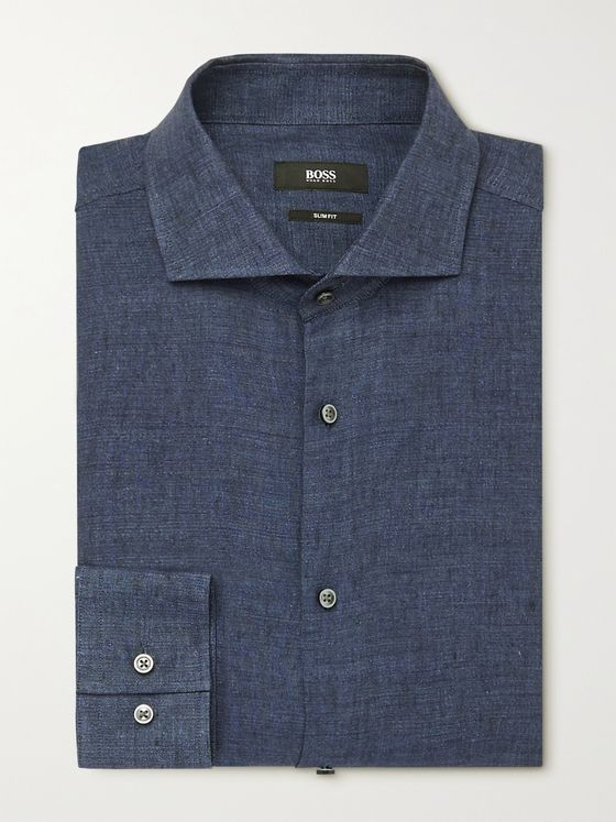 HUGO BOSS Cutaway-Collar Linen Shirt