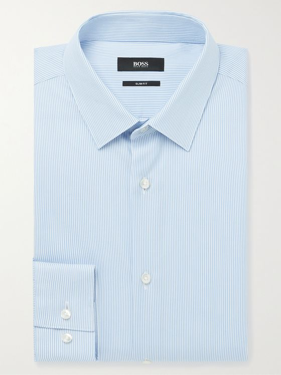 HUGO BOSS Slim-Fit Pinstriped Cotton and TENCEL Lyocell-Blend Shirt
