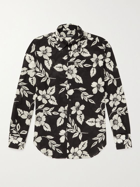 TOM FORD Button-Down Collar Printed Lyocell Shirt