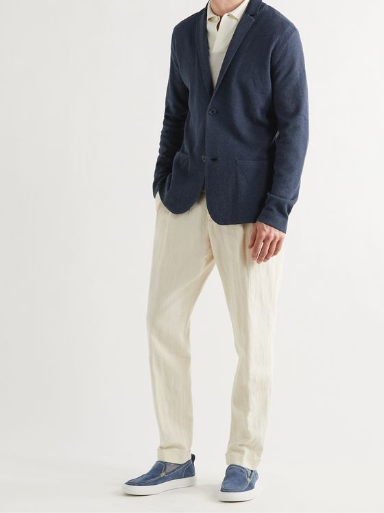 LORO PIANA Abington Unstructured Silk and Linen-Blend Jacquard Blazer