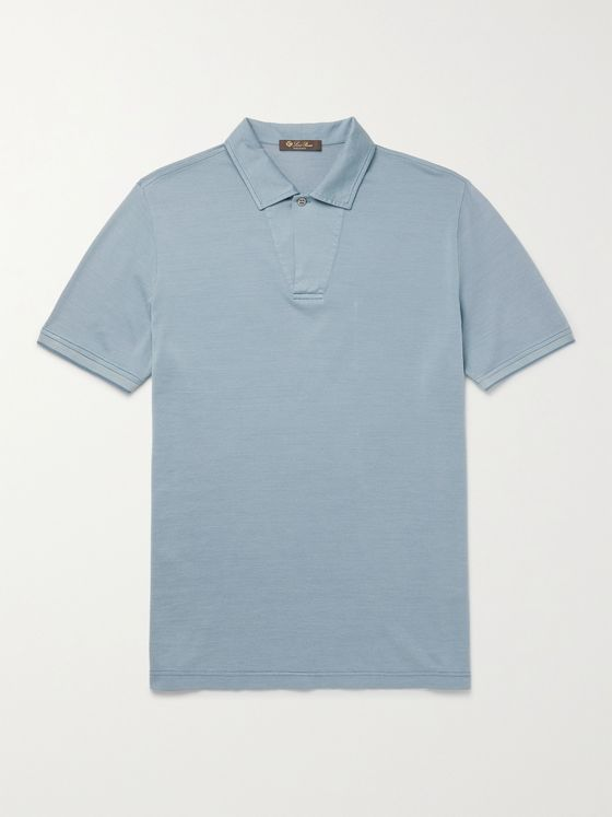 LORO PIANA Cotton and Silk-Blend Piqué Polo Shirt