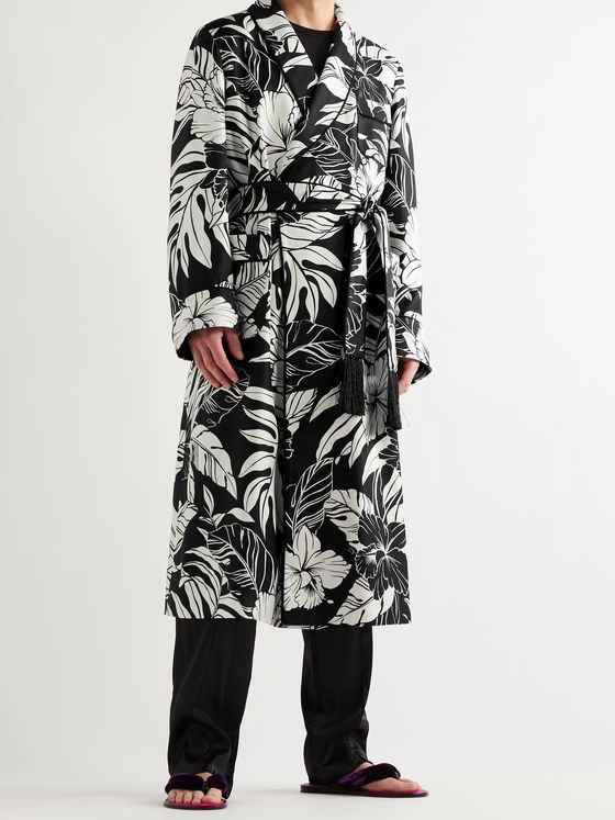 TOM FORD Piped Floral-Print Silk-Twill Robe