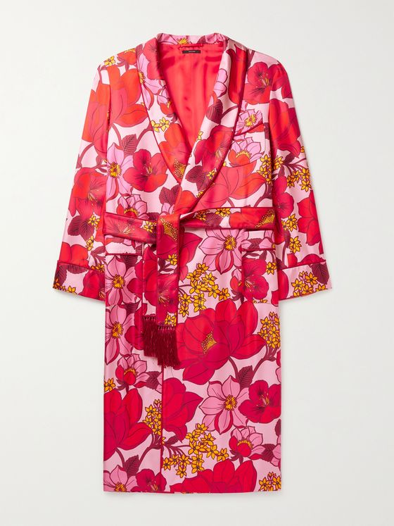 TOM FORD Tasselled Piped Floral-Print Silk-Twill Robe