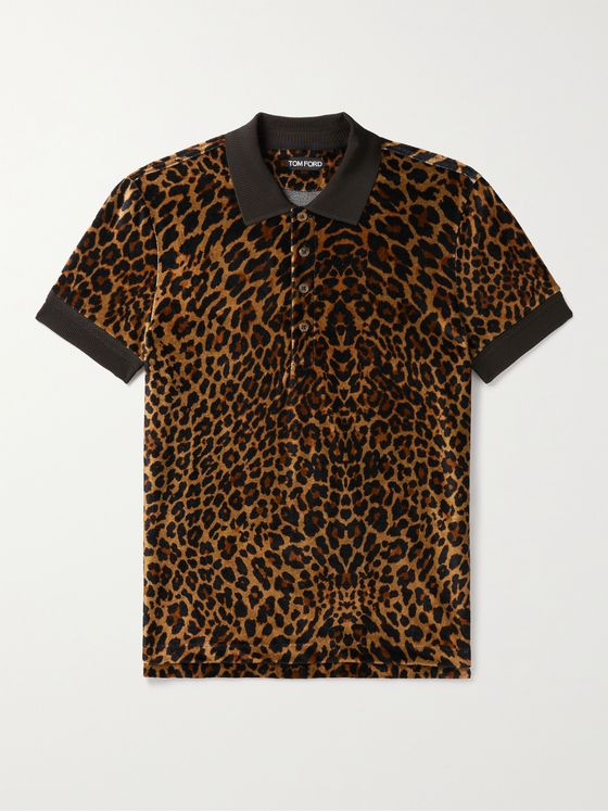 TOM FORD Leopard-Print Velour Polo Shirt