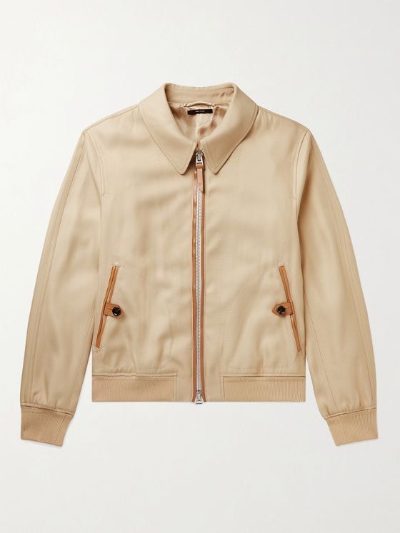 TOM FORD Leather-Trimmed Twill Bomber Jacket