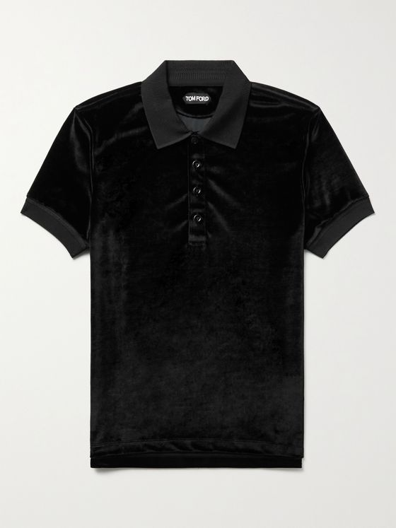 TOM FORD Slim-Fit Velour Polo Shirt