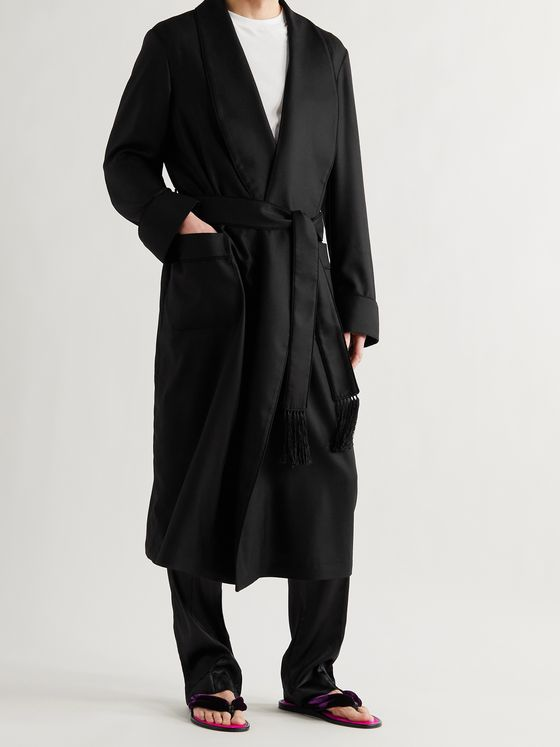 TOM FORD Belted Piped Cashmere-Twill Robe