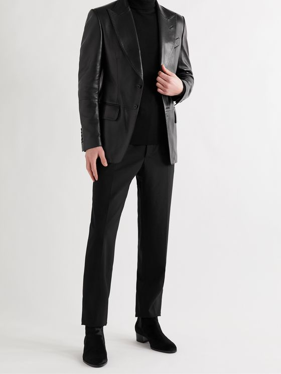TOM FORD Slim-Fit Leather Blazer