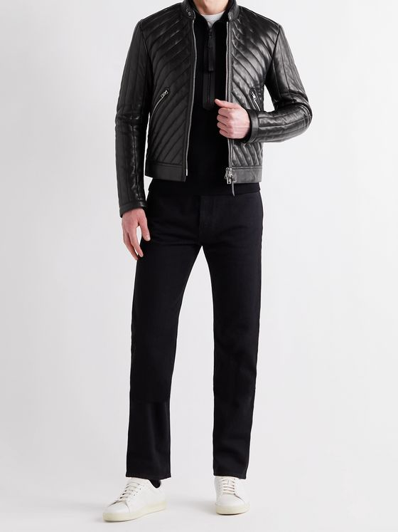 TOM FORD Slim-Fit Cropped Quilted Leather Biker Jacket