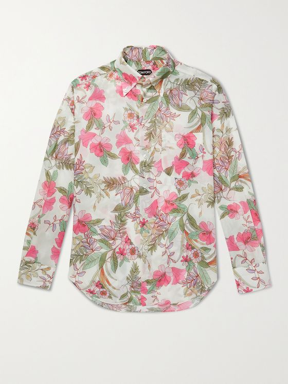 TOM FORD Oversized Button-Down Collar Floral-Print Lyocell Shirt