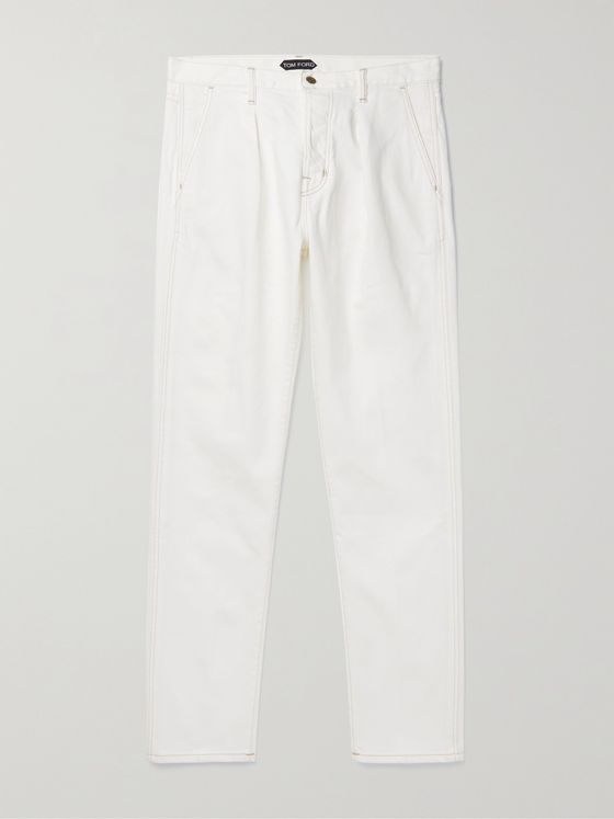 TOM FORD Lewes Pleated Selvedge Denim Chinos