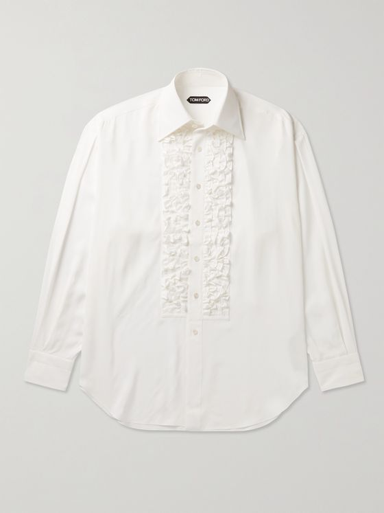 TOM FORD Ruffled Bib-Front Voile Tuxedo Shirt