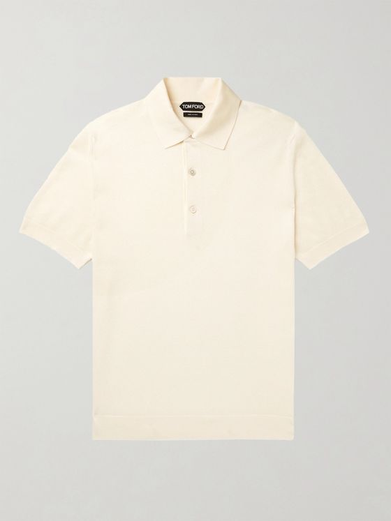 TOM FORD Textured Cotton-Blend Polo Shirt