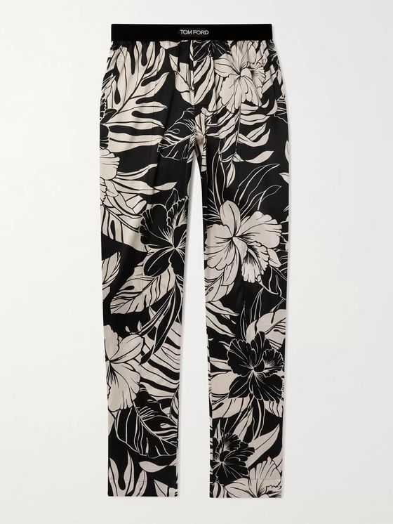 TOM FORD Velvet-Trimmed Printed Stretch Silk-Satin Pyjama Trousers