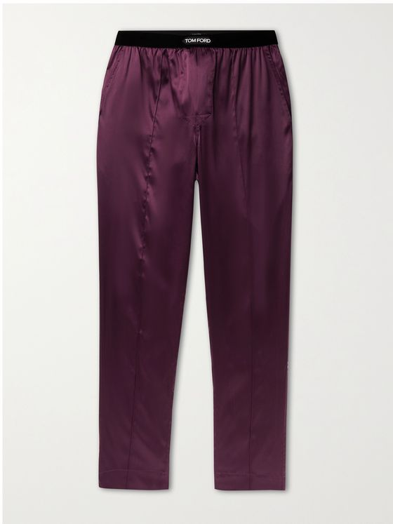 TOM FORD Velvet-Trimmed Stretch-Silk Satin Pyjama Trousers