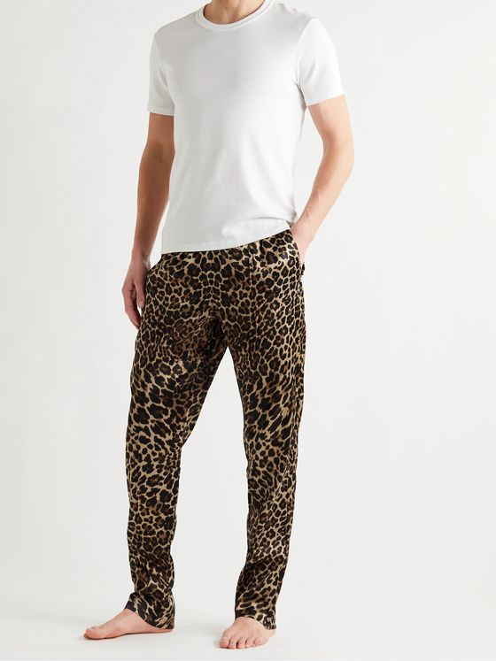 TOM FORD Velvet-Trimmed Leopard-Print Stretch Silk-Satin Pyjama Trousers