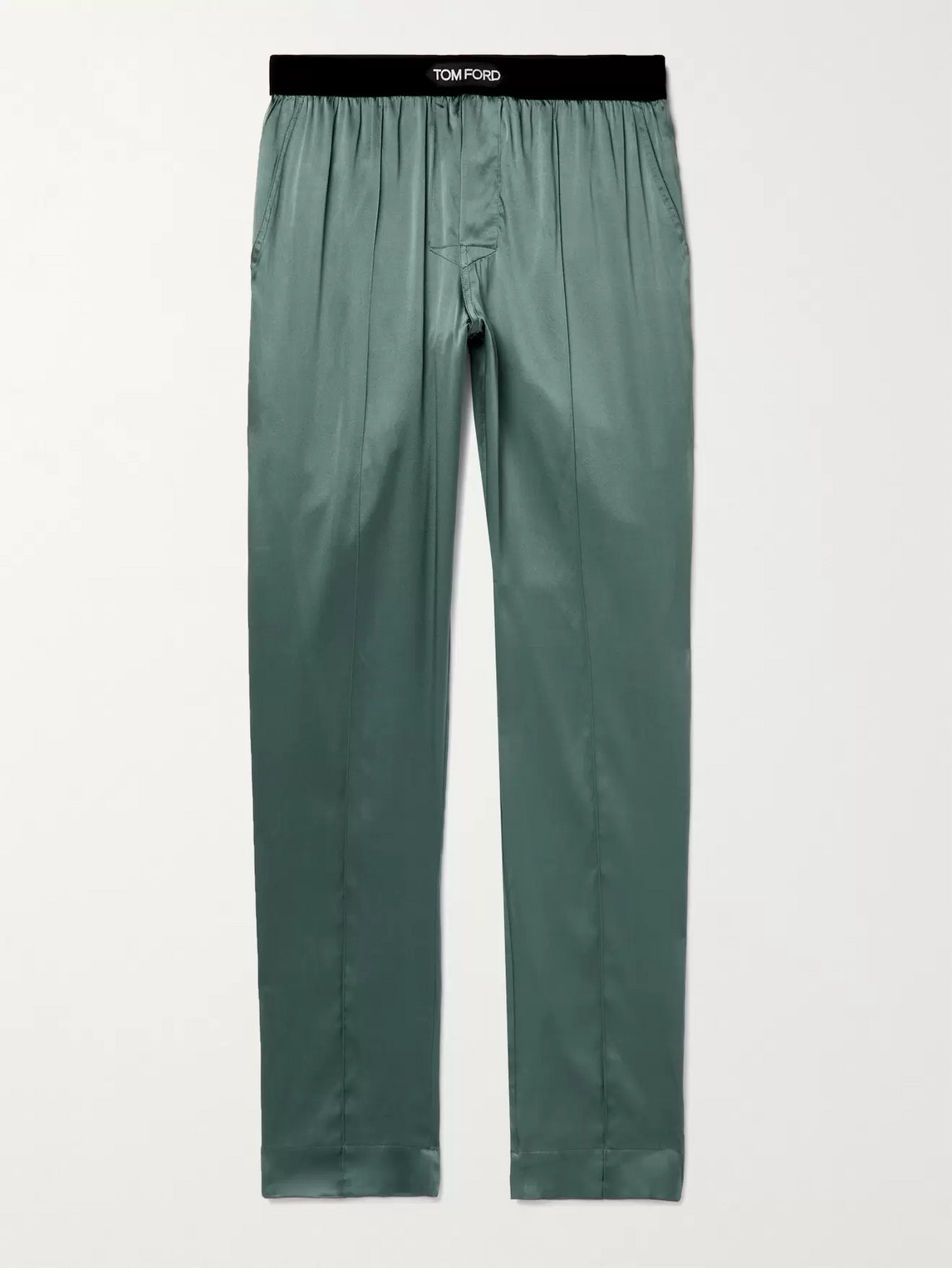Tom Ford Silks VELVET-TRIMMED STRETCH-SILK SATIN PYJAMA TROUSERS