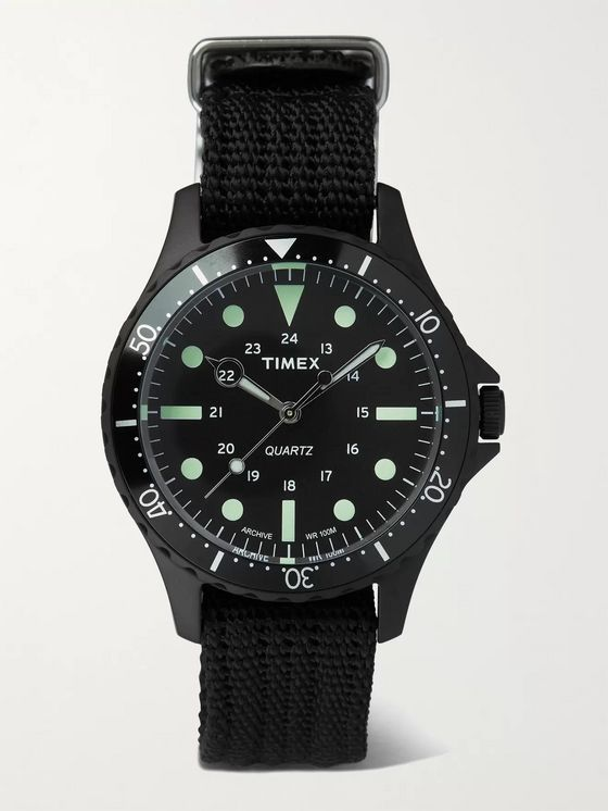 TIMEX Navi Harbor 38mm Stainless Steel and Nylon-Webbing Watch