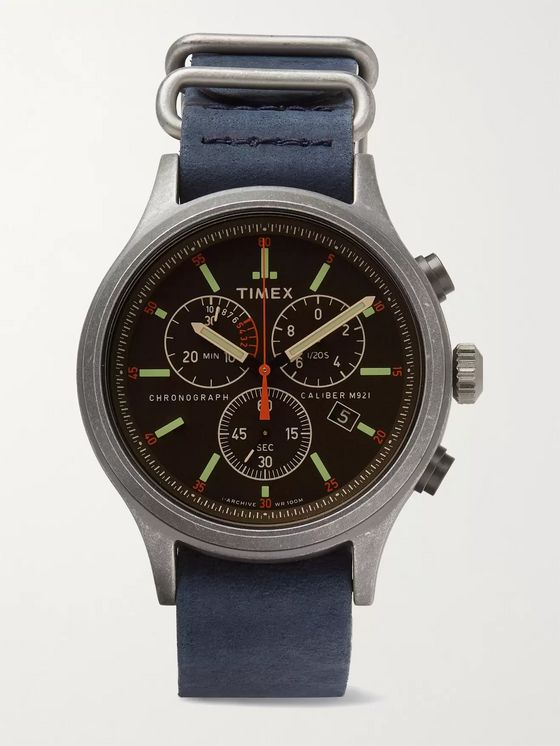 TIMEX 41mm Silver-Tone, Nubuck and Webbing Watch