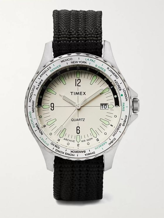 TIMEX Archive Navi World Time 38mm Stainless Steel and Nylon-Webbing Watch