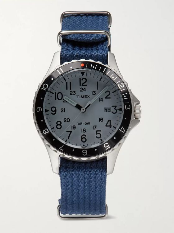 TIMEX Archive Navi Ocean 38mm Stainless Steel and Nylon-Webbing Watch
