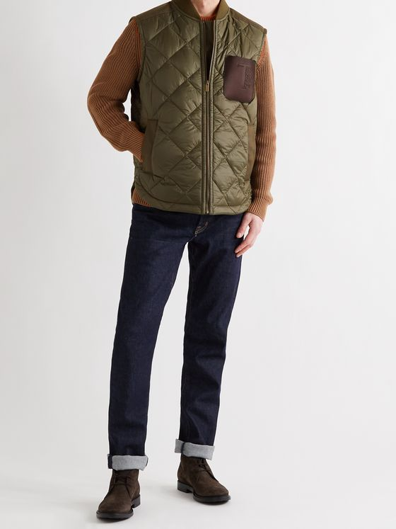 TOD'S Leather-Trimmed Padded Quilted Shell and Poplin Gilet