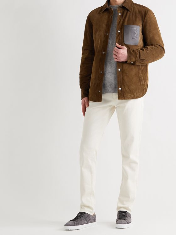TOD'S Leather-Trimmed Padded Suede Overshirt