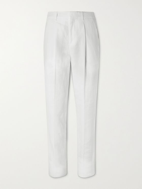 TOD'S Pleated Linen Trousers