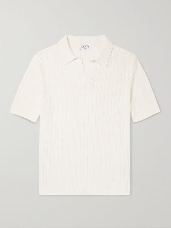 TOD'S Slim-Fit Ribbed Cotton-Blend Polo Shirt