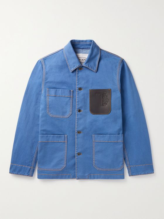 TOD'S Leather-Trimmed Garment-Dyed Cotton-Blend Twill Chore Jacket