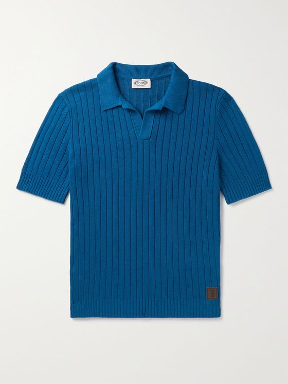 TOD'S Ribbed Cotton and Linen-Blend Polo Shirt
