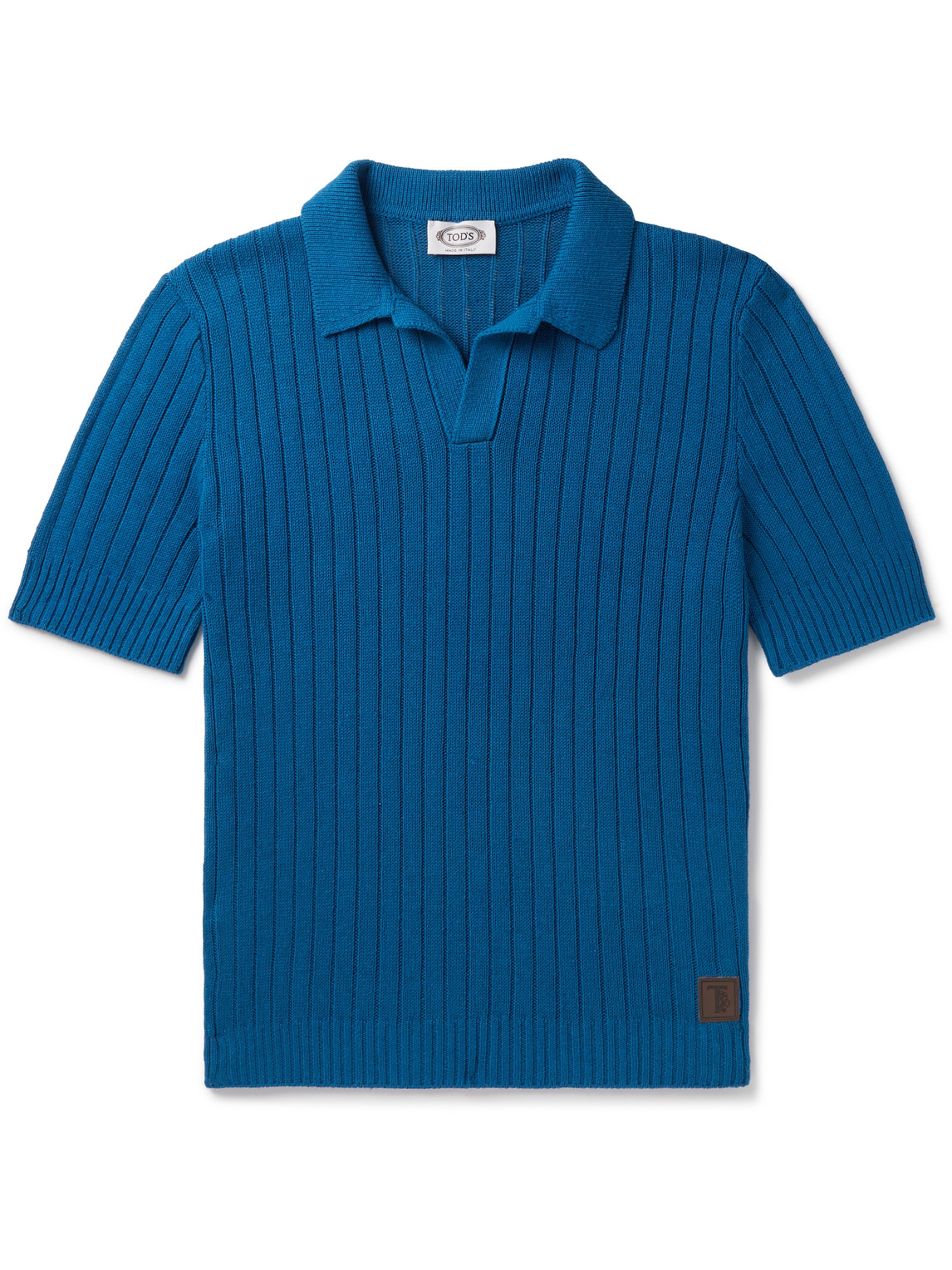 Tod's Ribbed Cotton And Linen-blend Polo Shirt In Blue