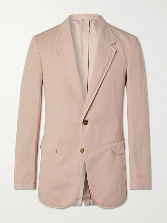 TOD'S Unstructured Garment-Dyed Cotton and Linen-Blend Blazer