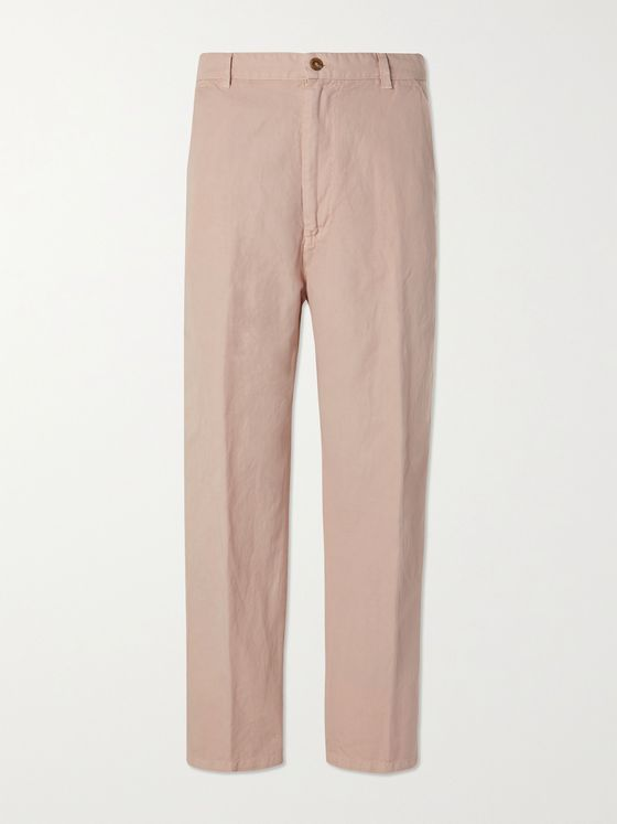 TOD'S Garment-Dyed Cotton and Linen-Blend Trousers
