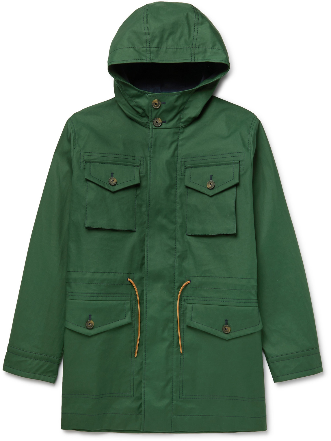 Tod's Oversized Cotton Hooded Parka In Green