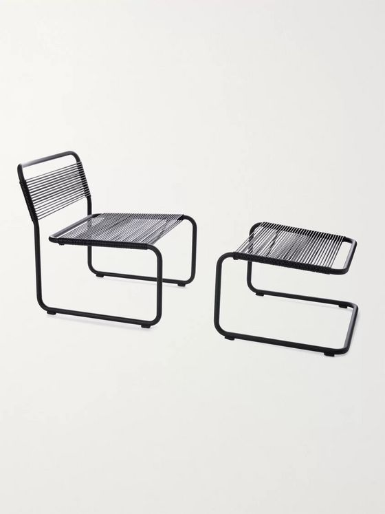 SSAM Steel and Leather Lounge Chair and Ottoman