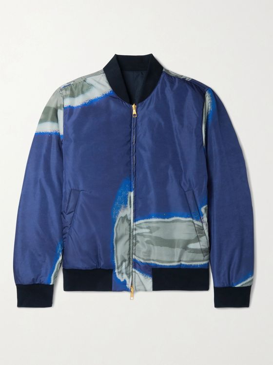 DUNHILL Slim-Fit Reversible Printed Shell and Cotton Bomber Jacket