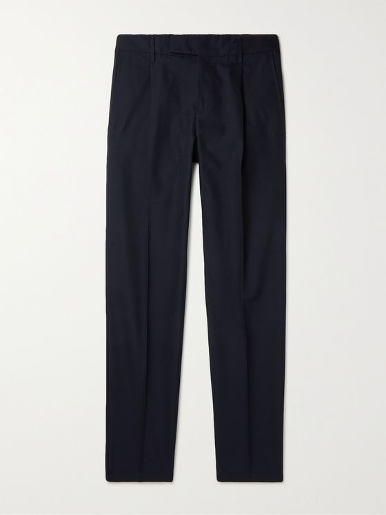 DUNHILL Slim-Fit Wool and Cotton-Blend Trousers