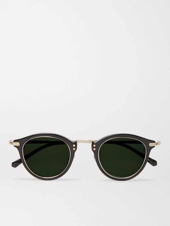 MR LEIGHT Stanley S Round-Frame Acetate and Gold-Tone Sunglasses