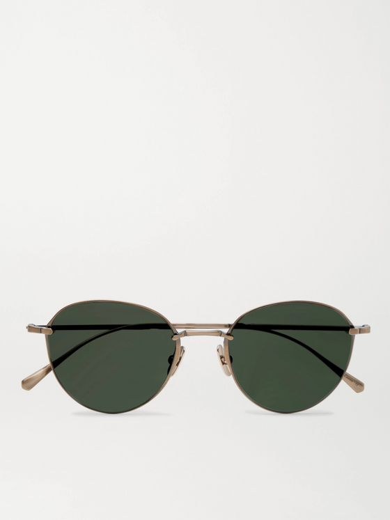 MR LEIGHT Mulholland S Round-Frame Gold-Tone Sunglasses