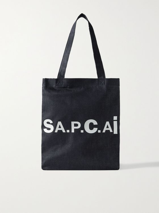 A.P.C. + Sacai Holly Logo-Print Nylon-Trimmed Denim Tote Bag