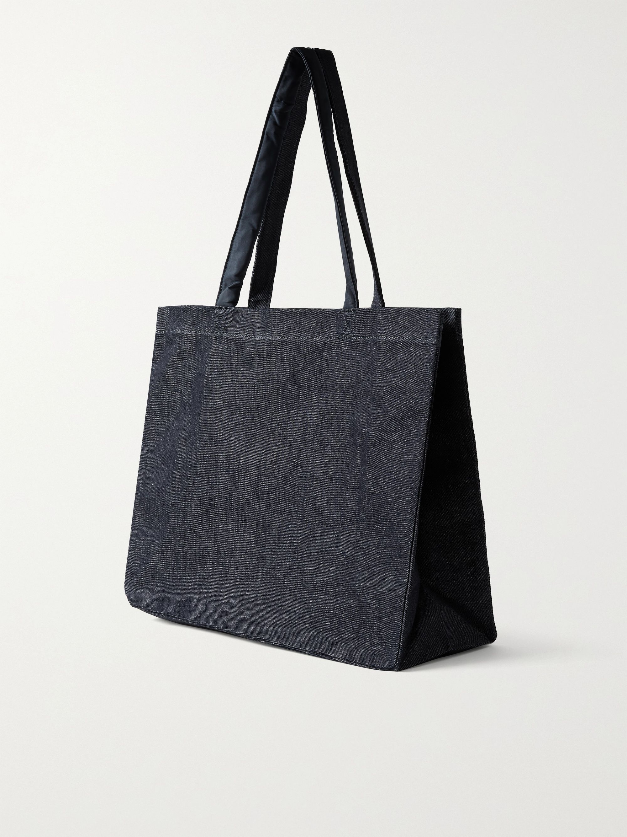 A.P.C. + Sacai Logo-Print Nylon-Trimmed Denim Tote Bag