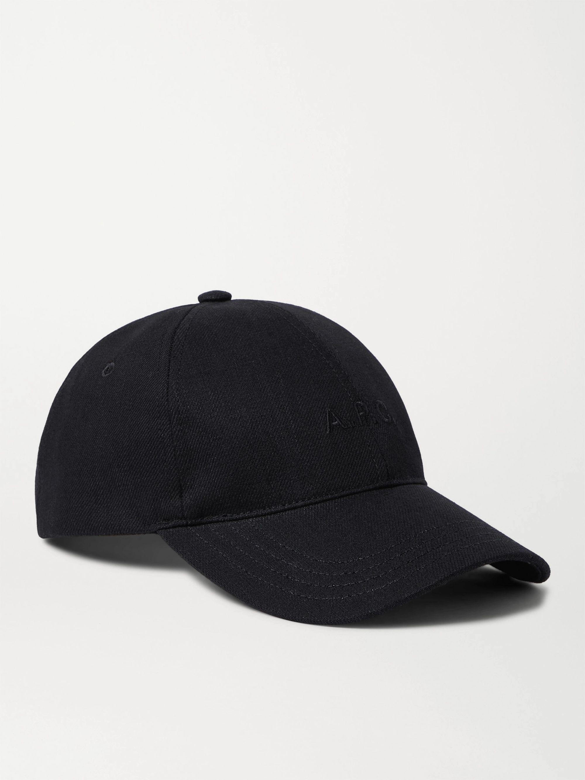 아페쎄 볼캡 모자 A.P.C. Logo-Embroidered Cotton-Blend Canvas Baseball Cap,Black
