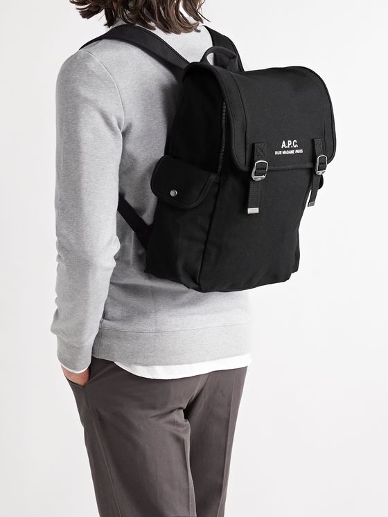 A.P.C. Logo-Print Cotton-Canvas Backpack