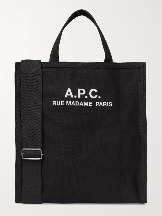 A.P.C. Logo-Print Cotton-Canvas Tote Bag
